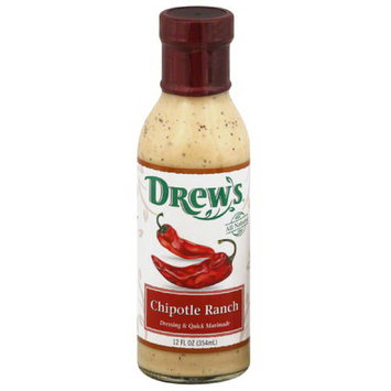 Drews All Natural Drew's Chipotle Ranch Dressing & Quick Marinade, 12 fl oz, (Pack of 6)