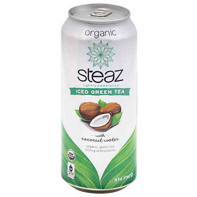 Steaz Organic Iced Green Tea with Coconut Water, 16 fl oz, (Pack of 12)