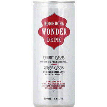 Kombucha Wonder Drink Cherry Cassis Sparkling Fermented Tea, 8.4 fl oz, (Pack of 24)