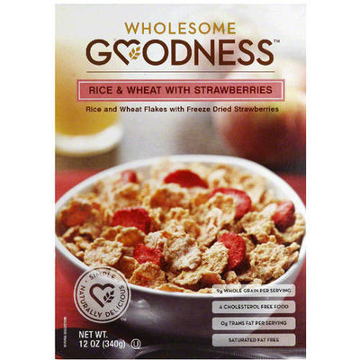 Wholesome Goodness Rice & Wheat with Strawberries Cereal, 12 oz, (Pack of 10)