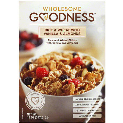 Wholesome Goodness Rice & Wheat with Vanilla & Almonds Cereal, 14 oz, (Pack of 10)