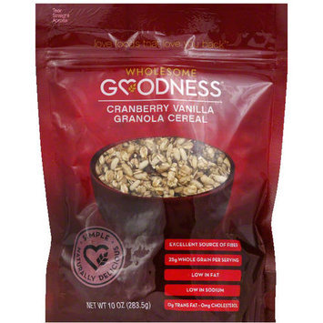 Wholesome Goodness Cranberry Vanilla Granola Cereal, 10 oz, (Pack of 6)