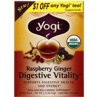 Yogi Tea's Yogi Organic Raspberry Ginger Digestive Vitality Herbal Supplement Tea