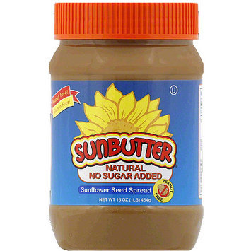 SunButter Natural No Sugar Added Sunflower Seed Spread, 16 oz, (Pack of 6)