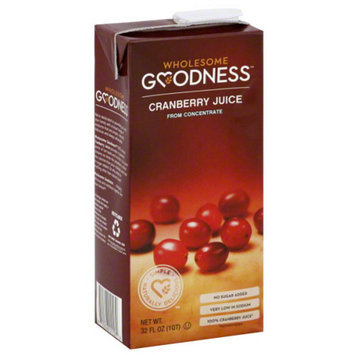 Wholesome Goodness Cranberry Juice, 32 fl oz, (Pack of 12)