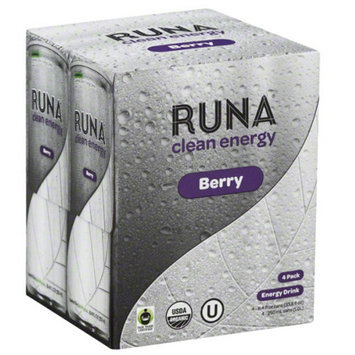 Runa Clean Energy Berry Sparkling Energy Drink, 33.6 fl oz, (Pack of 6)