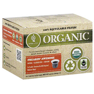 White Coffee Organic Freakin' Awesome Medium Roast Coffee, 0.35 oz, 10 count (Pack of 4)