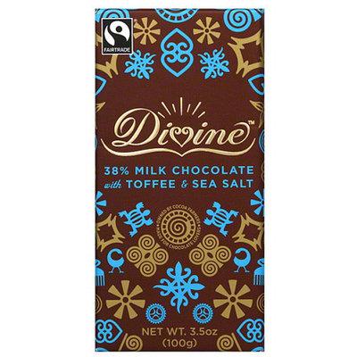 Divine Chocolate Divine 38% Milk Chocolate with Toffee & Sea Salt Bar, 3.5 oz, (Pack of 10)