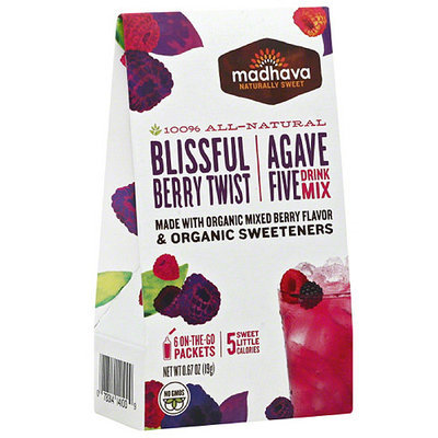 Madhava Honey Madhava AgaveFIVE Blissful Berry Twist Drink Mix, 6 count, .67 oz (Pack of 6)