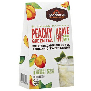 Madhava Honey Madhava AgaveFIVE Peachy Green Tea Drink Mix, 6 count, .85 oz (Pack of 6)