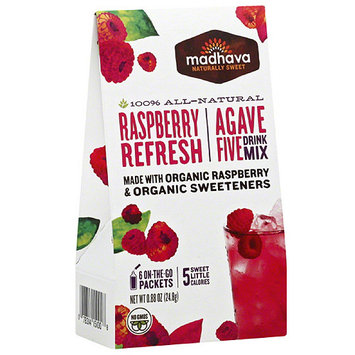 Madhava Honey Madhava AgaveFIVE Raspberry Drink Mix, 0.88 oz, (Pack of 6)