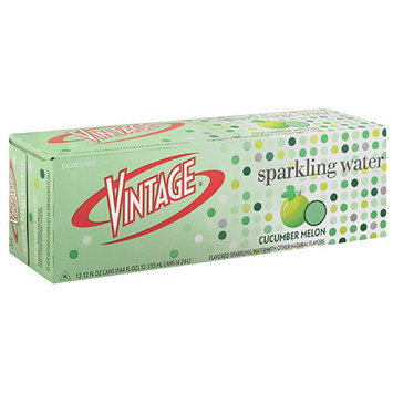Vintage Cucumber Melon Sparkling Water, 12 count, 12 fl oz, (Pack of 2)