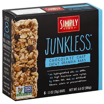 Simply Eight Junkless Chocolate Chip Chewy Granola Bars, 6.6 oz, (Pack of 8)