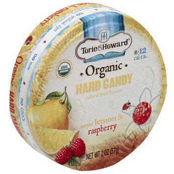 Torie & Howard Organic Meyer Lemon & Raspberry Hard Candy, 2 oz, (Pack of 8)