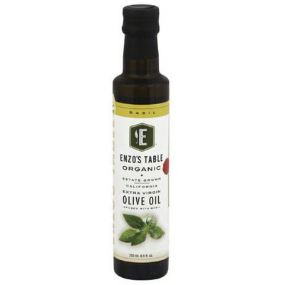 Enzo Olive Oil Co Enzo'sTable Organic Basil Extra Virgin Olive Oil, 8.5 oz, (Pack of 12)