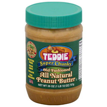 Teddie Old Fashioned Super Chunky All Natural Peanut Butter, 26 oz, (Pack of 12)