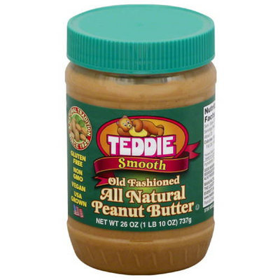 Teddie Smooth Old Fashioned All Natural Peanut Butter, 26 oz, (Pack of 12)