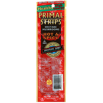 Puffins Primal Strips Jerky Meatless Shitake, 1 oz. (Pack of 24)