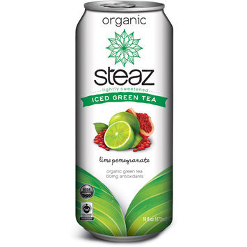 Steaz Organic Pomegranate White Tea With Lime, 16FO (Pack of 12)