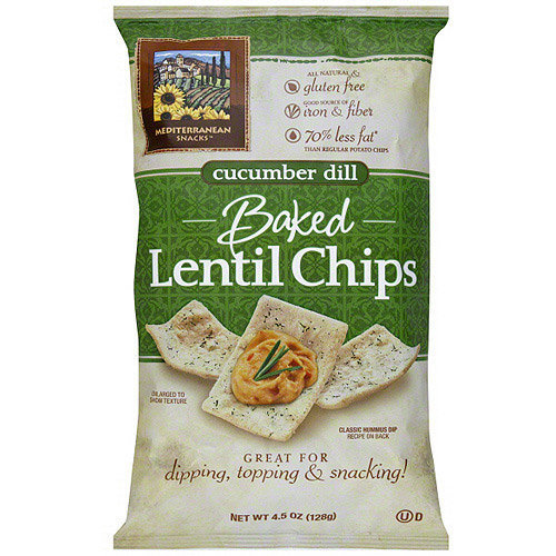 Mediterranean Snacks Baked Cucumber Dill Lentil Chips, 4.5 oz (Pack of 12)