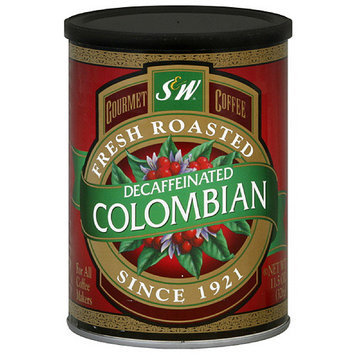 S & W Decaffeinated Colombian Ground Coffee, 11.5 oz (Pack of 6)