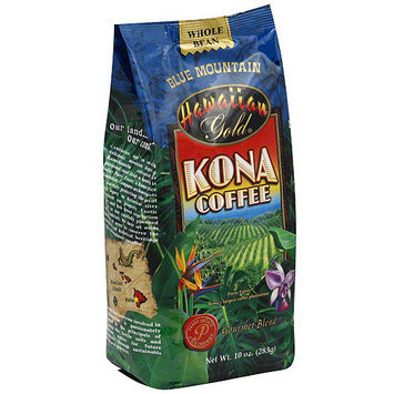 Hawaiian Gold Kona Blue Mountain Coffee Beans, 10 oz (Pack of 6)