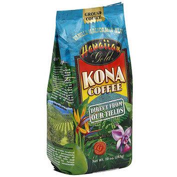 Hawaiian Gold Kona Vanilla Macadamia Nut Ground Coffee, 10 oz (Pack of 6)