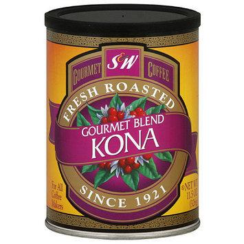 S & W Gourmet Blend Kona Ground Coffee, 11.5 oz (Pack of 6)