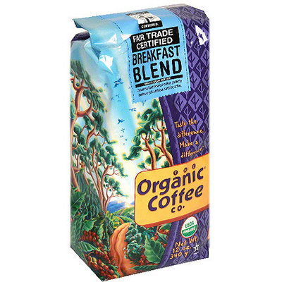 The Organic Coffee Co. Breakfast Blend Whole Bean Coffee, 12 oz (Pack of 6)