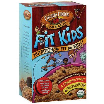 Country Choice Organic Fit Kids Chocolate Chip & Cinnamon Toast Instant Oatmeal, 10 oz (Pack of 6)