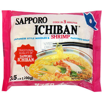 Sapporo Ichiban Japanese Style Shrimp Flavored Noodles With Soup Base, 3.5 oz (Pack of 24)
