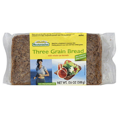 Mestemacher Three Grain Bread With Whole Rye Kernels, 17.6 oz (Pack of 12)