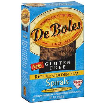 DeBoles Rice Plus Golden Flax Spirals Pasta, 8 oz (Pack of 12)