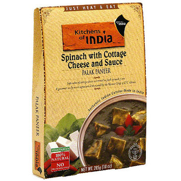 Kitchens Of India Spinach Palak Paneer With Cottage Cheese & Sauce, 10 oz (Pack of 6)