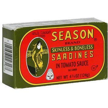 Seasons Sardines Skinless Boneless in Tomato Sauce, 4.375 oz. (Pack of 12)