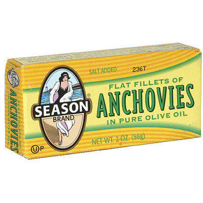 Seasons Season Flat Fillets Of Anchovies In Pure Olive Oil, 2 oz (Pack of 25)