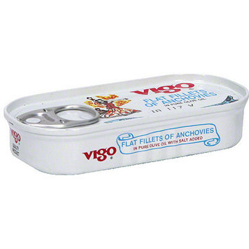 Vigo Flat Fillet Anchovies In Olive oil, 2 oz (Pack of 25)