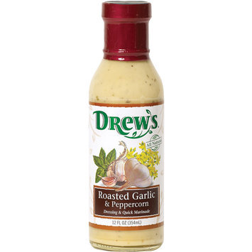 Drew's Roasted Garlic & Peppercorn Dressing & Quick Marinade, 12 oz (Pack of 6)