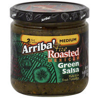 Arriba Medium Fire Roasted Mexican Green Salsa, 16 oz (Pack of 6)
