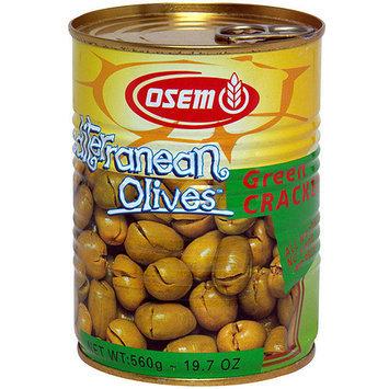 Osem Green Cracked Mediterranean Olives, 19.7 oz (Pack of 12)
