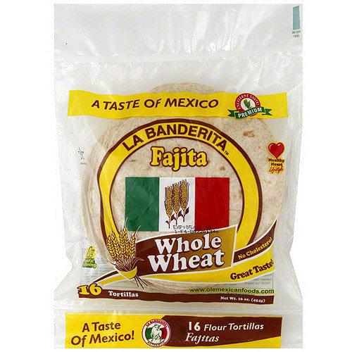 La Banberita La Banderita Whole Wheat Fajita Tortillas, 16ct (Pack of 12)