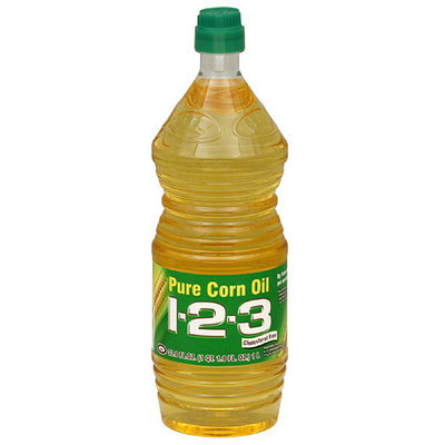 1-2-3 Pure Corn Vegetable Oil, 33.8 oz (Pack of 12)