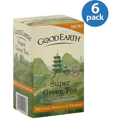 Good Earth Matcha, Sencha & Orange Super Green Tea, 1.37 oz, (Pack of 6)