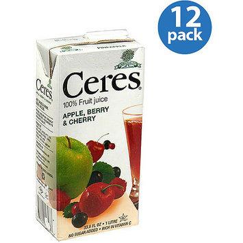 Ceres Apple, Berry & Cherry 100% Fruit Juice, 33.8 fl oz, (Pack of 12)
