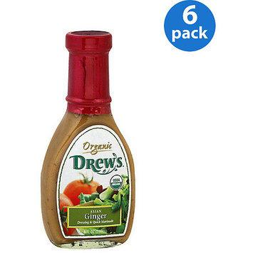Drews All Natural Drew's Organic Asian Ginger Dressing & Quick Marinade, 8 fl oz, (Pack of 6)