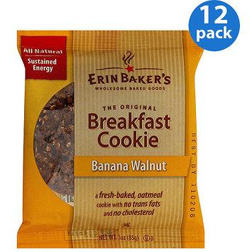 Erin Baker's Banana Walnut Breakfast Cookie, 3 oz, (Pack of 12)