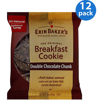 Erin Baker's Double Chocolate Chunk Breakfast Cookie, 3 oz, (Pack of 12)
