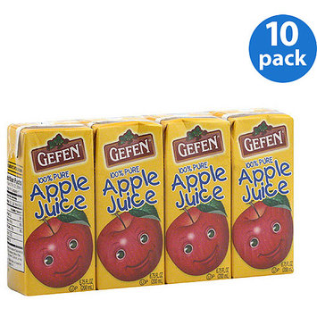 Gefen Apple Juice from Concentrate, 6.75 fl oz, 4 count, (Pack of 10)