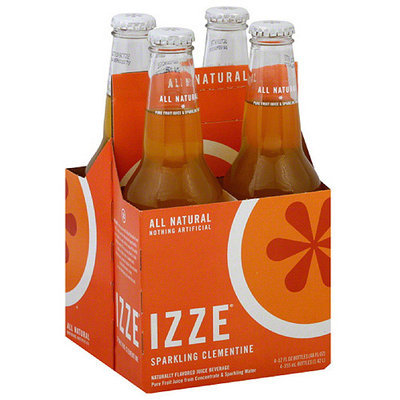IZZE Sparkling Clementine Flavored Juice Beverage, 4 count, (Pack of 6)