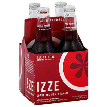 IZZE Sparkling Pomegranate Flavored Juice Beverage, 4 count, (Pack of 6)